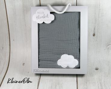 Babydecke aus Musselin - Weiche Baumwolle - Grau mit kleiner Wolke - personalisierbar