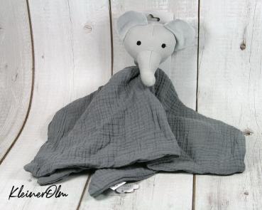 Schmusetuch - grauer Elefant - Kuscheltier zum Liebhaben - personalisierbar
