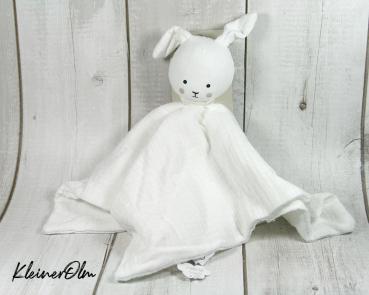 Schmusetuch - weißer Hase - Kuscheltier zum Liebhaben - personalisierbar