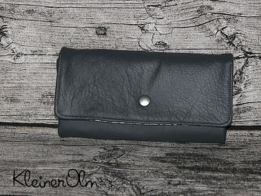 Geldbeutel Klimperlotte - Sehr tolles weiches Leder in grau. Kombiniert mit kleinen Papierschiffen auf grau