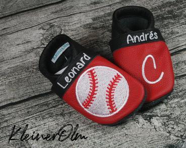 Krabbelpuschen - Lederpuschen mit Baseball - individualisierbar