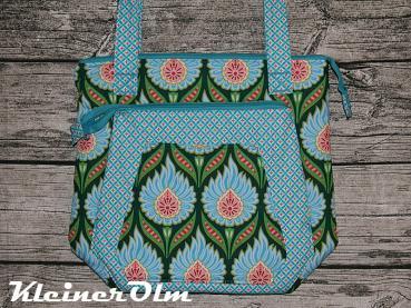 113e5dd221d7a Schultertasche Multitasche von Farbenmix Blume türkis ShoppingBag